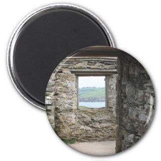 View from Burgh Island towards Devon coast 6 Cm Round Magnet