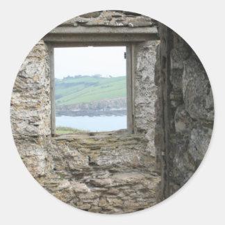 View from Burgh Island towards Devon coast Round Sticker