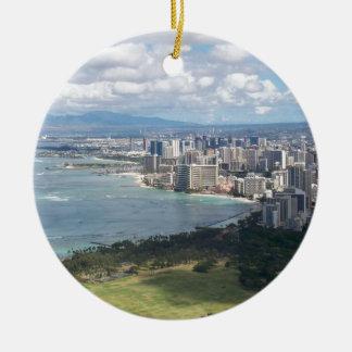 VIEW FROM DIAMOND HEAD- OAHU, HAWAII ROUND CERAMIC DECORATION