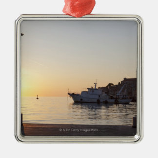 View from harbor of Rovinj, Croatia, at sunset Christmas Ornament