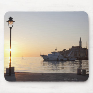 View from harbor of Rovinj, Croatia, at sunset Mouse Mat