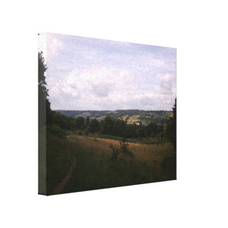 View from hills behind Dorking to hills beyond Canvas Print
