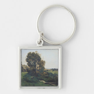 View from Moncel-sur-Seine, c.1868 Silver-Colored Square Key Ring