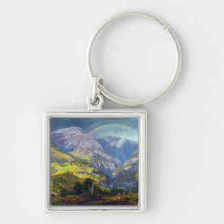 View from Stalheim by Johan Christian Dahl (1842) Silver-Colored Square Key Ring