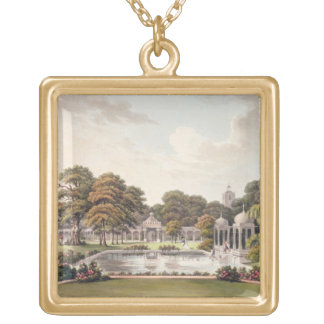View from the dome, Brighton Pavilion, engraved by Gold Plated Necklace