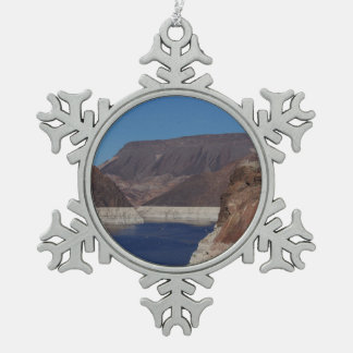 View from the Hoover Dam 2016 Snowflake Pewter Christmas Ornament
