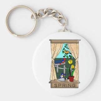 View from the Kitchen Window in Spring Basic Round Button Key Ring