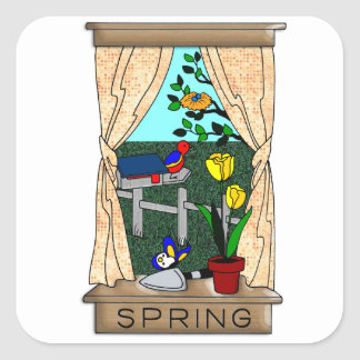 View from the Kitchen Window in Spring Square Sticker
