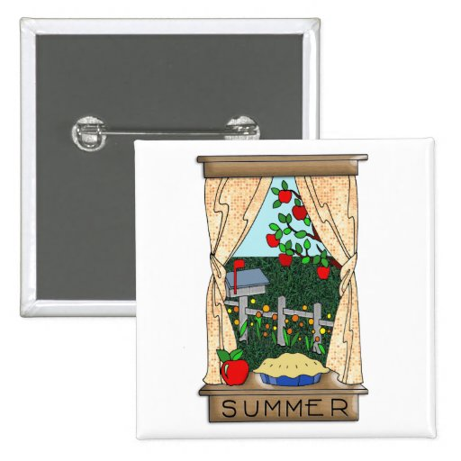 View From the Kitchen Window in Summer 15 Cm Square Badge