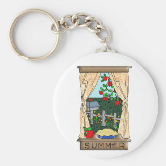 View From the Kitchen Window in Summer Basic Round Button Key Ring
