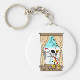 View from the Kitchen Window in Winter Basic Round Button Key Ring