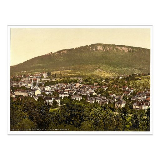 View from the Leopoldshoehe, Baden-Baden, Baden, G Postcard