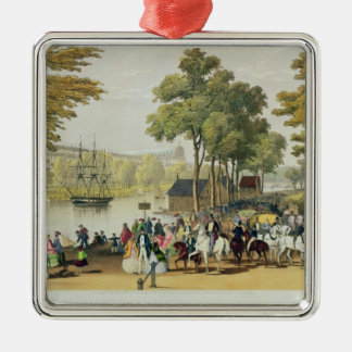View from the North Bank of the Serpentine, 1851 Silver-Colored Square Decoration