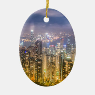 View from The Peak, Hong Kong Ceramic Oval Decoration