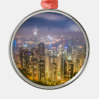 View from The Peak, Hong Kong Silver-Colored Round Decoration