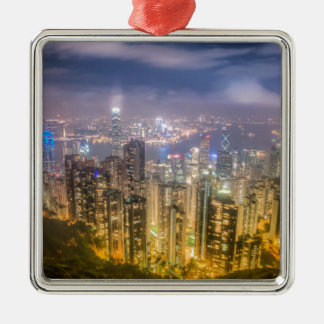 View from The Peak, Hong Kong Silver-Colored Square Decoration