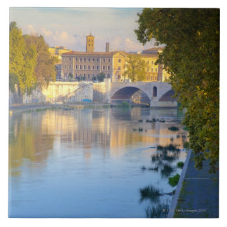 View from the Ponte Sisto Bridge of the Tiber Large Square Tile