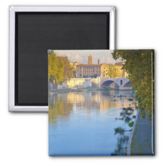 View from the Ponte Sisto Bridge of the Tiber Square Magnet