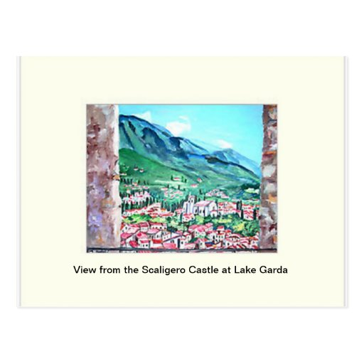 View from the Scaligero Castle at Lake Garda  Post Postcard