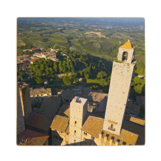 View From Tower, San Gimignano, Siena, Tuscany Maple Wood Coaster