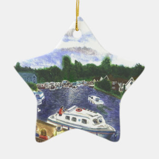 View from Wroxham Bridge Norfolk Broads Ceramic Star Decoration