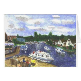 View from Wroxham Bridge Norfolk Broads Greeting Card