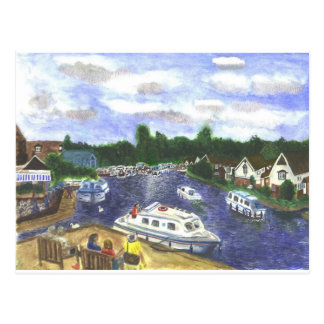 View from Wroxham Bridge Norfolk Broads Postcard