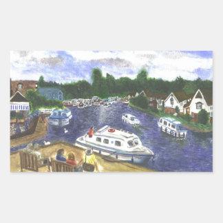 View from Wroxham Bridge Norfolk Broads Rectangular Sticker