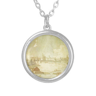 View from Yauza on Kremlin in Moscow by Maxim... Round Pendant Necklace