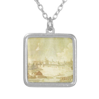 View from Yauza on Kremlin in Moscow by Maxim... Square Pendant Necklace