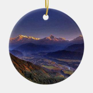 View Landscape  : HIMALAYA POKHARA NEPAL Christmas Ornament