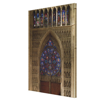 View looking west from the nave, rose window desig canvas print