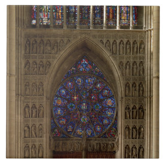 View looking west from the nave, rose window desig tile