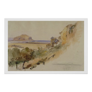View near Palermo, 1847 (pen & ink with w/c over p Posters