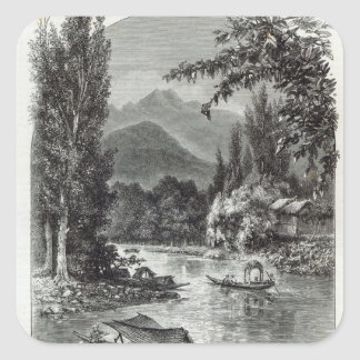 View near Serinugur, from 'Leisure Hour', 1888 Square Sticker