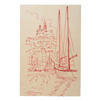View Notre-Dame de la Garde | Old Port, Marseille Wood Print