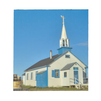 View of a blue and white church in Dene tribe Notepad