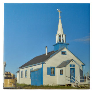 View of a blue and white church in Dene tribe Tile