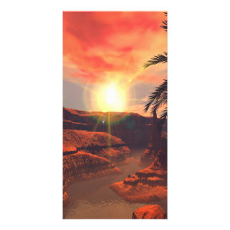 View of a canyon with red sandstone in the sunset custom photo card