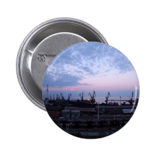 View of a cargo seaport against the evening cloudy 6 cm round badge
