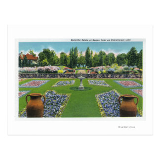 View of a Chautauqua Lake Estate Gardens Postcard