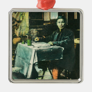 View of a Chinese Fortune Teller Silver-Colored Square Decoration