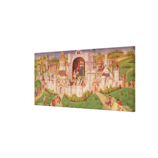 View of a city with labourers paving roads canvas print
