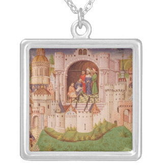 View of a city with labourers paving roads silver plated necklace