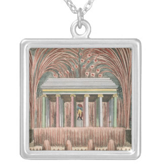 View of a firework display silver plated necklace
