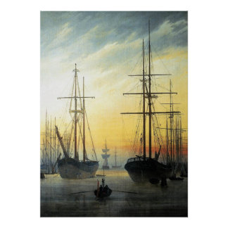 View of a Harbour - Caspar David Friedrich Posters