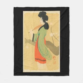 View of a Japanese Woman in ParisParis, France Fleece Blanket