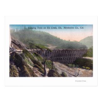 View of A Logging Train over Elk Creek Bridge Postcard