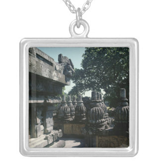 View of a lower gallery with balustrades silver plated necklace