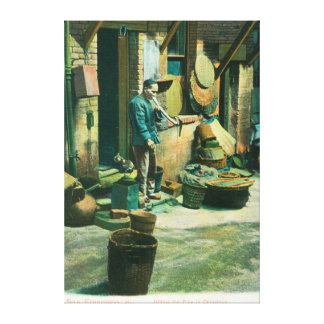 View of a Man Smoking Out of his Pipe Canvas Print